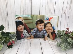 Family Photo Display ~ Family Picture Frame ~ Unique Display of Family Photos ~ Photo Gifts Displaying Family Pictures, Display Family Photos, Family Christmas, Christmas Photos, Glass Photo Prints, Glass Awards, Family Picture Frames, Unique Wedding Gifts, Curved Glass