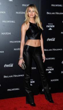 Candice Swanepoel Wows In Leather At Maxim 100 Event