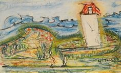 White Head,Sandy Cove_La petite fils du phare_335_pastels Rembrandt Rembrandt, Pastels, Painting, Lighthouse, Painting Art, Paintings, Drawings