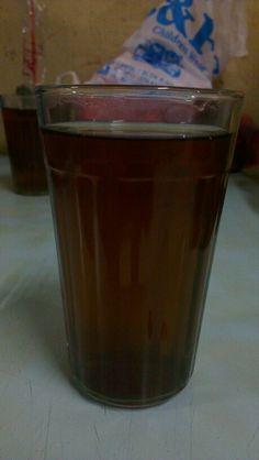 Hot tea and eat sate padang