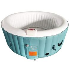 Aleko Round Inflatable Hot Tub Spa With Cover - 4 Person - 210 Gallon - Light Blue and White, Size: 55 x 26 inches Round Hot Tub, Concrete Resurfacing, Drinks Tray, Deep Relaxation, Sit Back And Relax, Cover, Blue And White, Things To Sell, Hot Tubs