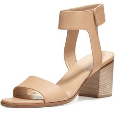 Vince Josslyn Leather City Sandal ($340) ❤ liked on Polyvore featuring shoes, sandals, nude, leather strap sandals, nude mid heel sandals, nude block heel sandals, vince shoes and nude sandals