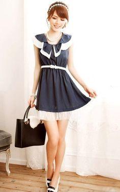 Lovely Draping Collar Sleeveless Layered Dress