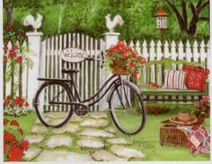 """County Bike Mary Kay Crowley Design. h1""""County Bike"""" Mary Kay Crowley Design_h1""""County Bike"""" Mary Kay Crowley Design.Feel the soft leaves graze against your palm as you gaze at this Mary Kay Crowley treasure. Stylish and affordable.. See More Hand Paintings at http://www.ourgreatshop.com/Hand-Paintings-C1108.aspx"""