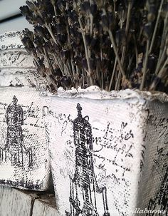 French script, peat container, gesso and lavendar...what a combination