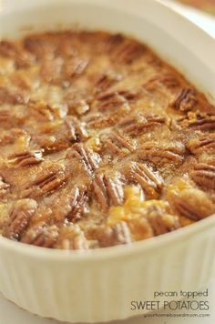 Take your sweet potatoes to the next level with this pecan topped sweet potatoe recipe!