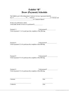 Printable Sample draw schedule Form