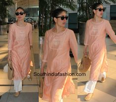 Kareena Kapoor in ethnic wear at the airport blouse designs