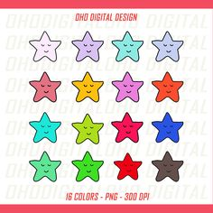 Colors Star Clip art, illustrations PNG, Planner Stickers Commercial Use by OHODIGITAL on Etsy