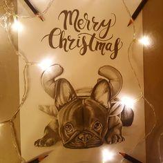"#drawing #dog #cute #art #chrismas #merrychrismas art by ""Spiritpaint"" instagram @spiritpaint_illustration"