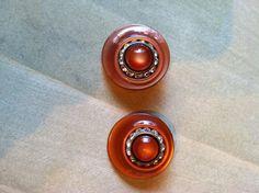 Orange Rhinestone Plastic Earrings  Very by happytrailsmichelle
