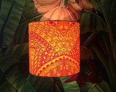 Samoan lamp stand alone tropical hawaiian tiki lamp shade table tribal lampshade samoanhawaiianpolynesian unique hand dyed fabric great for table lamp aloadofball Images