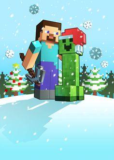 X-mas Minecraft by Lukali on DeviantArt Minecraft Posters, Minecraft Toys, Minecraft Pictures, Minecraft Creations, Minecraft Fan Art, Minecraft Houses, Minecraft Funny, Minecraft Crafts, Minecraft Stuff