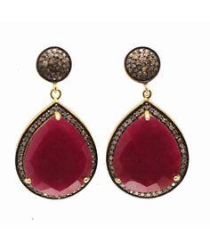 Blue Candy Jewelry Pave Diamond Ruby Teardrop Earrings