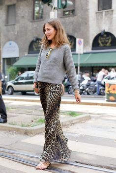 leopard maxi and grey jumper