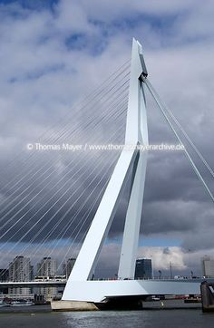 Erasmus Bridge, Rotterdam designed by UN Studio. Using a unique kinked pylon, the cable-stayed Erasmus Bridge in Rotterdam is a wonderfully elegant design. Not visible here is an opening section, positioned to the right. Bridges Architecture, Futuristic Architecture, Amazing Architecture, Arch Bridge, Pedestrian Bridge, Cable Stayed Bridge, Architectural Engineering, Bridge Design, Building Art
