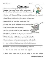Comma Worksheet | Worksheets, Punctuation and Sentences