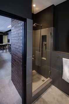 Staff shower at the Bomax Offices Cape Town, Offices, Bathtub, Shower, Mirror, Bathroom, Projects, Furniture, Home Decor