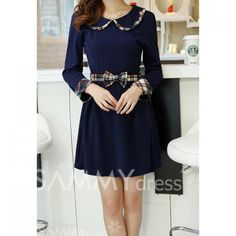 Ladylike Peter Pan Collar Checked Long Sleeved Dress For Women