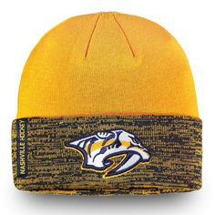 422eae45b34 Men s Nashville Predators Fanatics Branded Gold Navy Authentic Pro Rinkside Cuffed  Knit Hat
