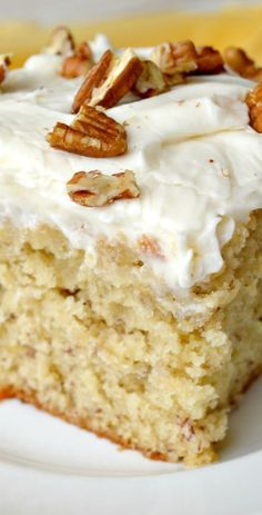 Banana Cake with Cream Cheese Frosting-- A moist, deliciously tender and fluffy Banana Cake slathered with just the right amount of Cream Cheese Frosting! I would use a non cream cheese frosting Banana Recipes, Cake Recipes, Dessert Recipes, Picnic Recipes, Think Food, Moist Cakes, Cake With Cream Cheese, How Sweet Eats, Cookies Et Biscuits