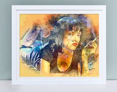 Pulp Fiction print, Uma Thurman poster, Instant download Pulp Fiction wall art, Mia Wallace watercolor poster digital download, wall decor by TinyCuteShop on Etsy