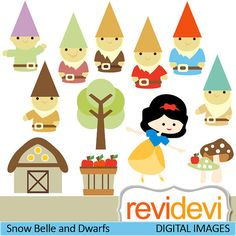 Clipart  Snow Belle and Dwarfs 07417 by revidevi on Etsy, $5.95