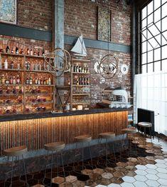 Loft cafe in Mexico on Behance bar Loft cafe in Mexico Bar A Vin, Café Bar, Loft Cafe, Coffee Shop Design, Restaurant Interior Design, Loft Design, Loft Style, Cafe Restaurant, Architecture