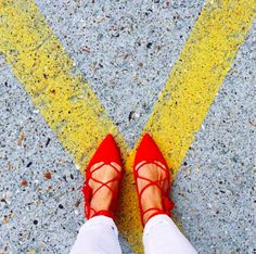 Our editor's shoe game is on point! These red, lace-up flats from Office Shoes are so dreamy! Shop the shoe by clicking on the pic!