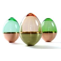 Utopia & Utility Homage to Faberge Glass Vase. This small egg shaped container has a solid base crafted and spun in copper or brass with a blown glass top. The glass top comes in a variety of colours and both parts can be used as bowls separately. Glass Bead Game, Glass Art, Home Decor Accessories, Decorative Accessories, Objet Deco Design, Studios, Glass Ceramic, Make Design, Decorative Objects