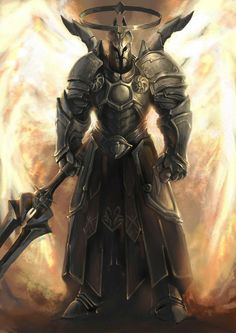 Cael 1 of the 5 Archangels (Archangel of Courage) Fantasy Armor, Dark Fantasy Art, Medieval Fantasy, Imperius Diablo, Character Inspiration, Character Art, Angel Warrior, Ange Demon, Knight Armor