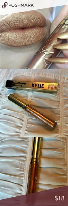 "Kylie Cosmetics Metal Matte Lipstick Lord New without tags, birthday edition Metal Matte lipstick from Kylie Cosmetics. ""Lord"" color as seen in first photo. Bought it, opened it, never used it. Not my color. Maybe it's yours? 😉. ""This gold-infused metal lipstick is part of Kylie's Birthday Collection! This unique shade will make you stand out from the crowd with its long-lasting metallic finish."" Kylie Cosmetics Makeup Lipstick"