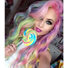 Amy the Mermaid with pastel rainbow hair. One day! via Polyvore featuring accessories and hair accessories