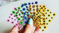 5 sheets of glitter flower nail stickers,Blue Flower Nails,yellow Flower Nail Design,Spring Flowers Nail Art,Nail Decoration,Young Nails,