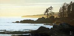 "Ron Parker - Golden Coastline - 24"" x 48"" - oil on canvas"