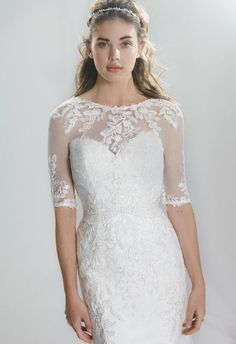 lillian west spring 2016 bridal half sleeves sheer jewel neckline sweetheart lace emboridery fit to flare beautiful mermaid wedding dress style 6396 -- Lillian West Spring 2016 Wedding Dresses Lace Wedding Dress, 2016 Wedding Dresses, Wedding Dress Styles, Wedding Gowns, Lace Dress, Party Dress Outfits, Bridal Outfits, Bridal Gowns, Lillian West