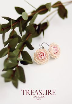 Soft pink and ivory peony earrings by TreasureAM on Etsy
