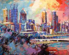 Perth City Acrylic on Canvas by Jos Coufreur
