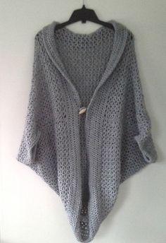 Ravelry: V-Stitch Long Button Shrug pattern by Nicole Wang