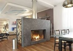 Image result for 4 Sided Gas Fireplace