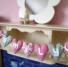personalised fabric heart garland by cherish | notonthehighstreet.com Fabric Garland, Felt Fabric, Fabric Decor, Baby Diy Projects, Sewing Projects For Kids, Sewing Crafts, Bunting Banner, Pink Bunting, Buntings