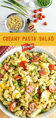 Spark some buzz at your next summer BBQ with this Creamy Pasta Salad featuring peas, cherry tomatoes, elbow macaroni and French's Spicy Brown Mustard! This easy pasta salad recipe makes for the perfect summer side dish to pair with burgers, steak, chicken or seafood.