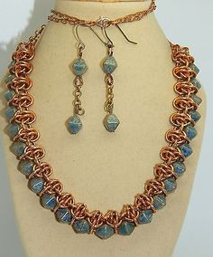 Hand-made Bronze Chain Maille with Blue Czech glass double pyramid beads set in Jewellery & Watches, Handcrafted Jewellery, Sets   eBay