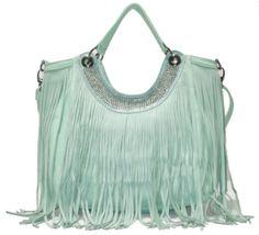 Skye Rhinestone Neckline Shoulder Bag in Mint. Crisp yet #beautiful mint color for your #spring wardrobes. #fashion