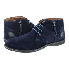 Leva - GK Uomo Comfort Men's low boots made of suede with leather lining and synthetic outsole.  Available in color Black, Blue, Maroon and Tobacco.