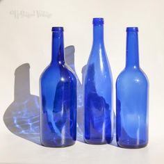 Vintage Set of 3 Cobalt Blue Bristol Blue Glass Decorative Bottles by UpStagedVintage on Etsy