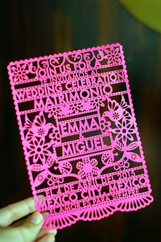 Colorful Mexican Wedding on The Boss Aesthetic wedding checklist Mexican Wedding Invitations, Bridal Invitations, Invites, Mexican Themed Weddings, Origami, Mexican Party, Mexican Style, Inexpensive Wedding Venues, Our Wedding