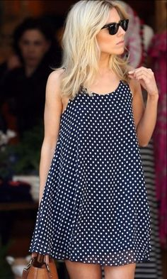 I love Molly King's polka dot dress and tan accessories here, it's a shame it's so short ; Love Fashion, Fashion Outfits, Fashion Clothes, Style Fashion, Cute Dresses, Summer Dresses, Look Blazer, Romantic Outfit, Mode Style