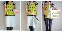 Handtowel apron with zipper