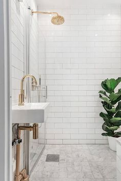 Home Interior Design .Home Interior Design Brass Shower Head, Shower Heads, Bathroom Renos, Small Bathroom, Shower Bathroom, Small Sink, Gold Bathroom, Washroom, White Bathrooms